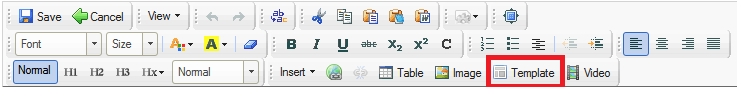 CKEditor toolbar with Templates shown