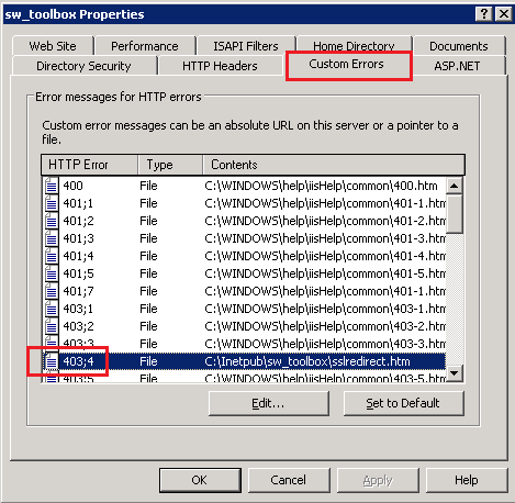 IIS custom error configuration