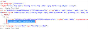 HTML code showing the problem TD