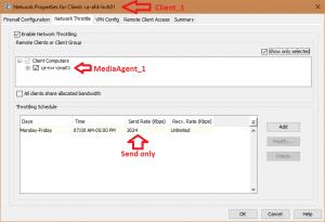 Commvault Network Throttle settings
