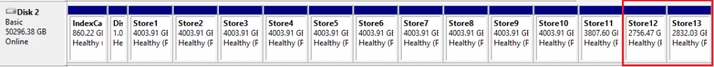 Disk management showing new volumes