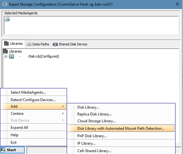 commvault export storage config example